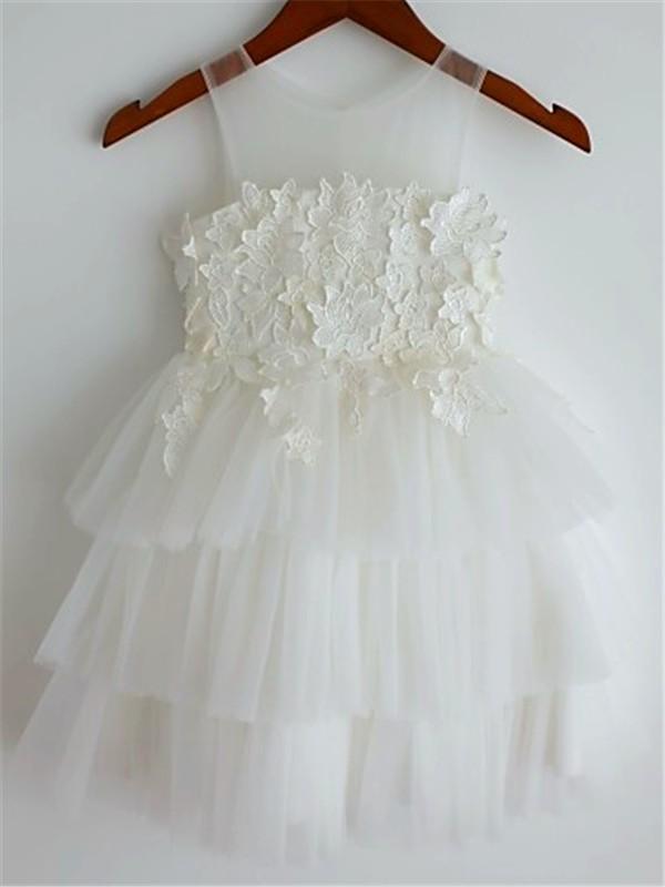 Sweet Sensation Princess Style Straps Lace Tea-Length Tulle Flower Girl Dresses