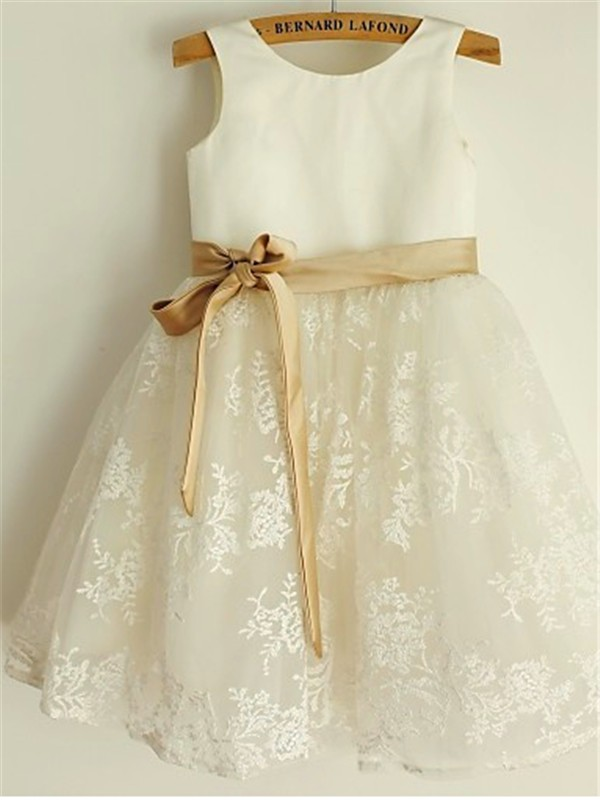 First Impressions Princess Style Scoop Bowknot Tea-Length Lace Flower Girl Dresses