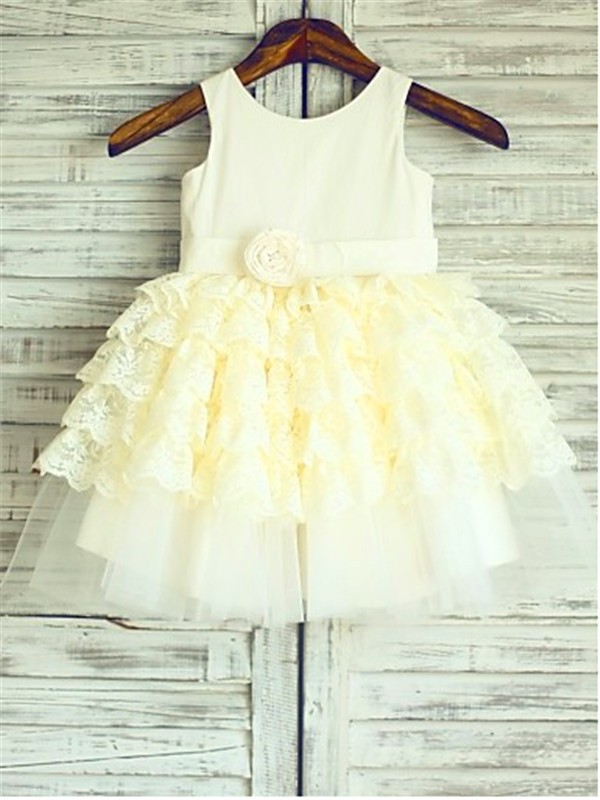 Confident Option Ball Gown Scoop Layers Tea-Length Lace Flower Girl Dresses
