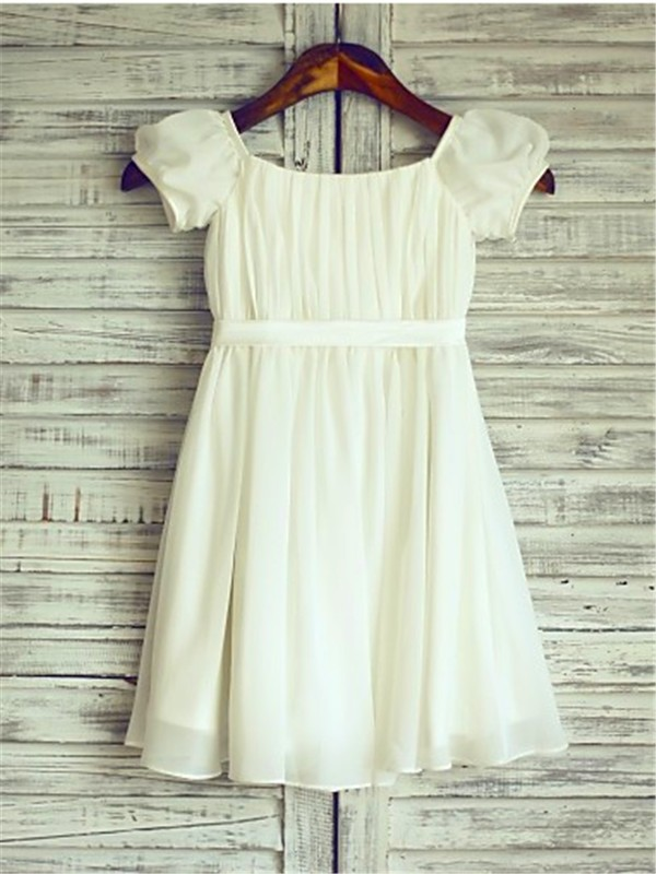 Fabulous Fit Princess Style Square Ruched Tea-Length Chiffon Flower Girl Dresses