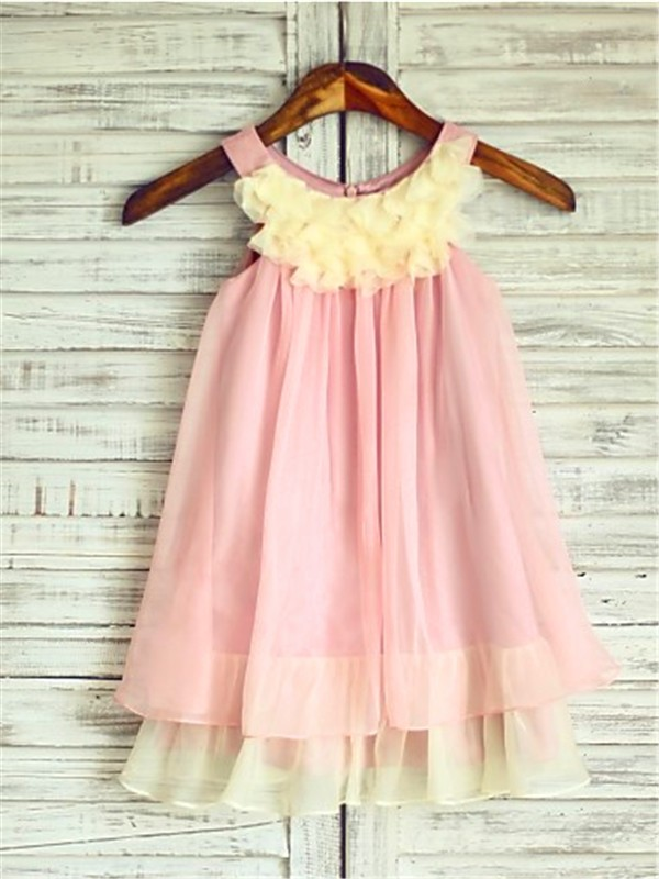 Visual Moment Princess Style Straps Ruched Tea-Length Chiffon Flower Girl Dresses