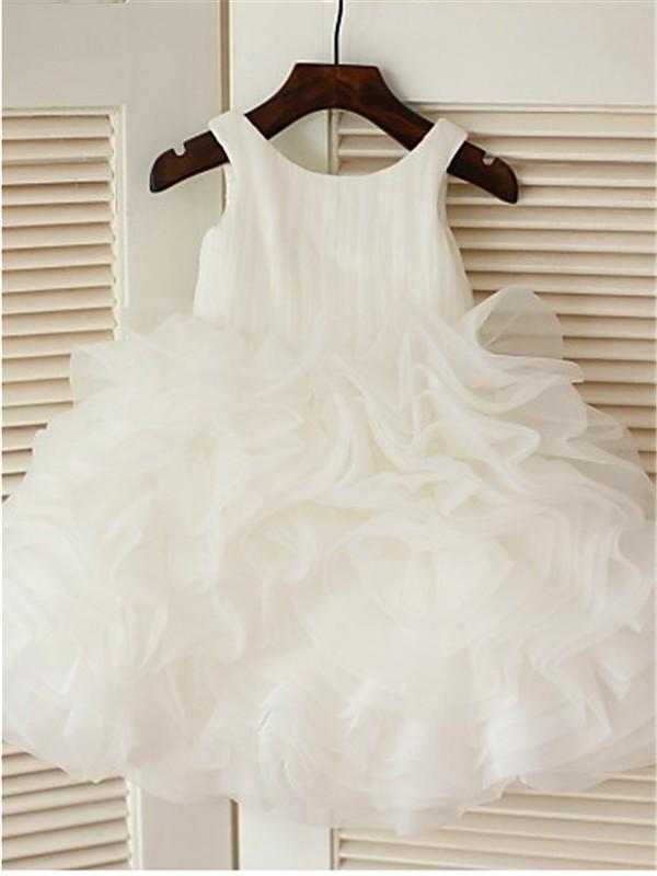 Ball Gown Scoop Sleeveless Layers Tea-Length Organza Flower Girl Dresses