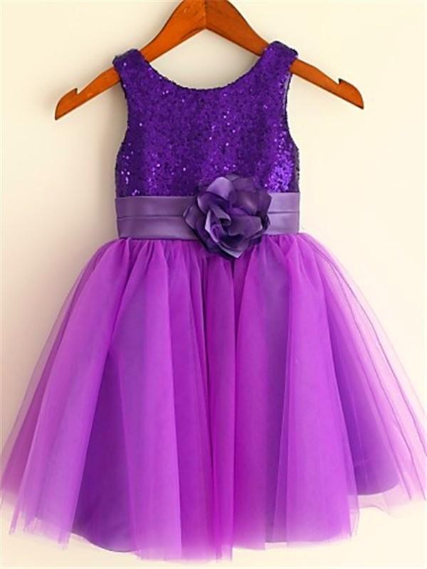 A-line/Princess Scoop Sleeveless Sequin Tea-Length Tulle Flower Girl Dresses