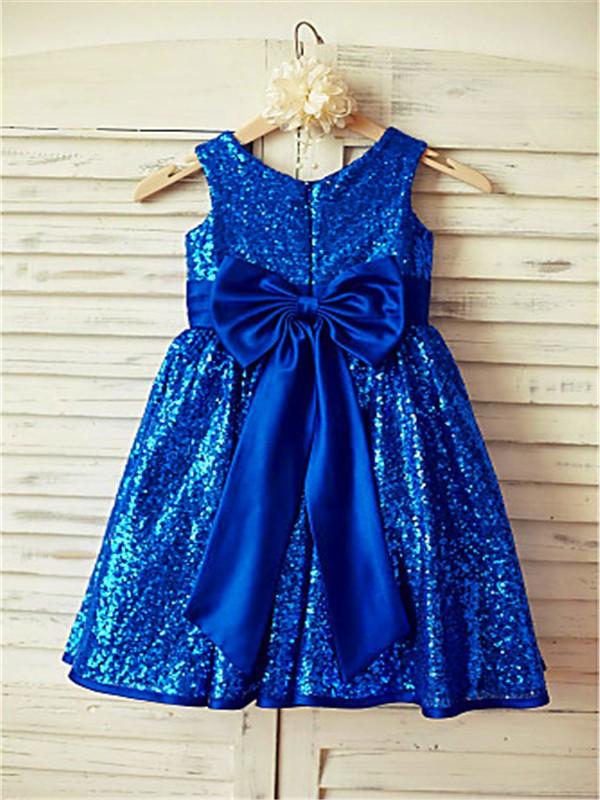A-line/Princess Scoop Sleeveless Bowknot Tea-Length Sequins Flower Girl Dresses