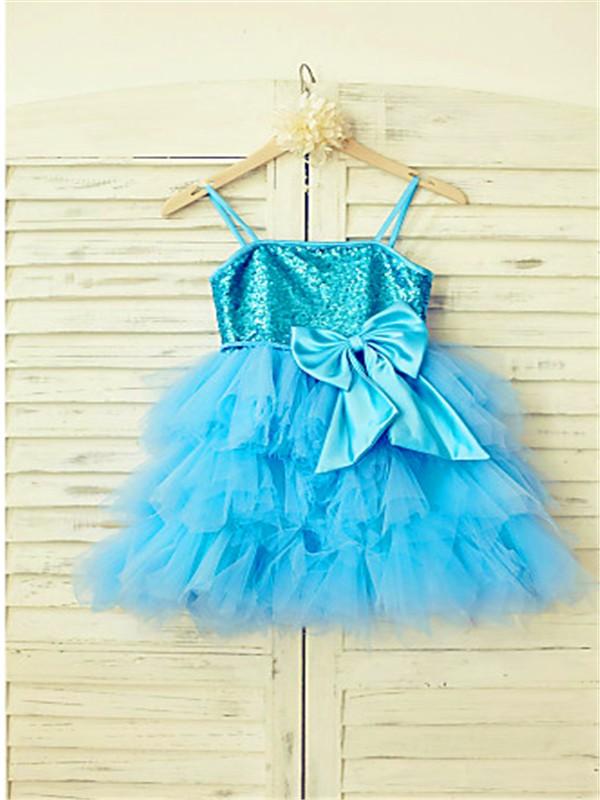 A-line/Princess Spaghetti Straps Sleeveless Sequin Tea-Length Net Flower Girl Dresses