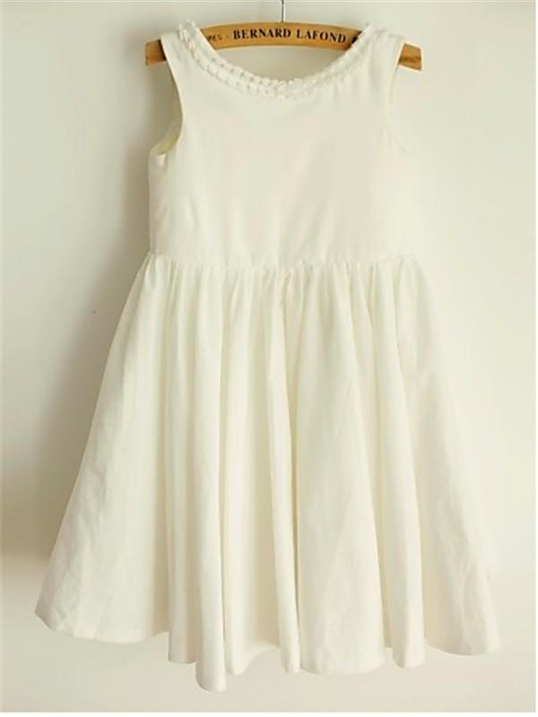 A-line/Princess Scoop Sleeveless Ruffles Tea-Length Chiffon Flower Girl Dresses