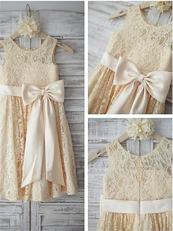 Desired Spotlight Princess Style Scoop Bowknot Knee-Length Lace Flower Girl Dresses