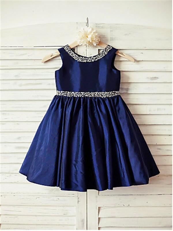 A-line/Princess Scoop Sleeveless Rhinestone Tea-Length Taffeta Flower Girl Dresses