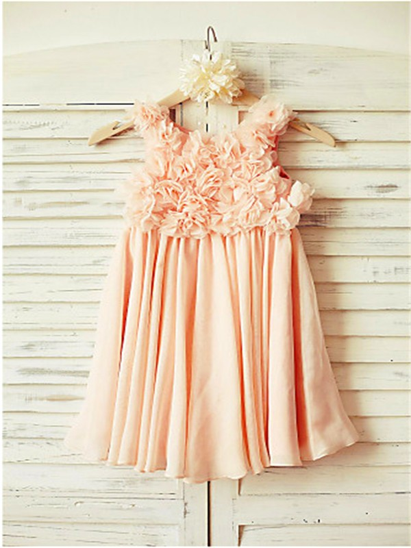 A-line/Princess Straps Sleeveless Ruched Floor-Length Chiffon Flower Girl Dresses