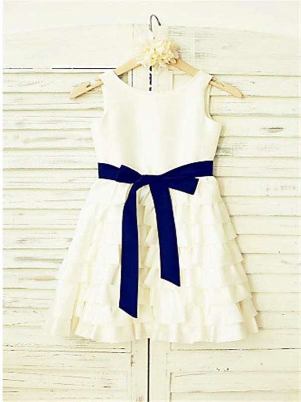 A-line/Princess Straps Sleeveless Layers Tea-Length Chiffon Flower Girl Dresses