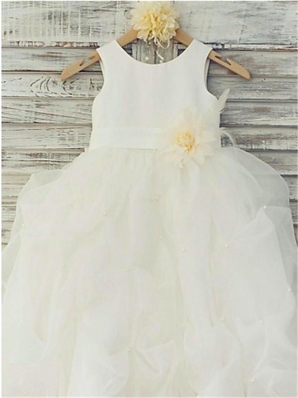 Ball Gown Sleeveless Scoop Hand-made Flower Floor-Length Organza Flower Girl Dresses