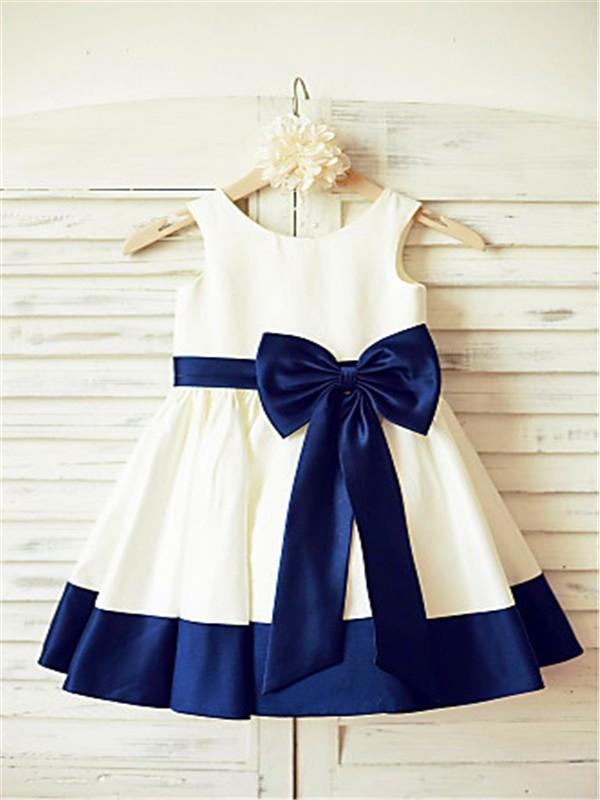 A-line/Princess Scoop Sleeveless Bowknot Tea-Length Satin Flower Girl Dresses
