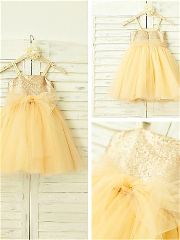 Desired Spotlight Princess Style Spaghetti Straps Sequin Tea-Length Tulle Flower Girl Dresses