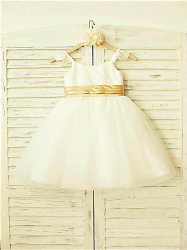 A-line/Princess Spaghetti Straps Sleeveless Lace Tea-Length Tulle Flower Girl Dresses