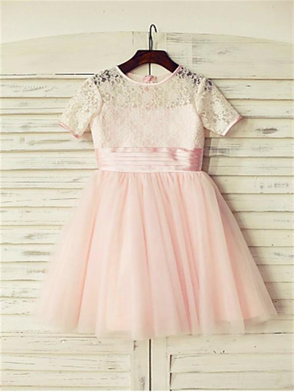 A-line/Princess Jewel Short Sleeves Lace Floor-Length Tulle Flower Girl Dresses
