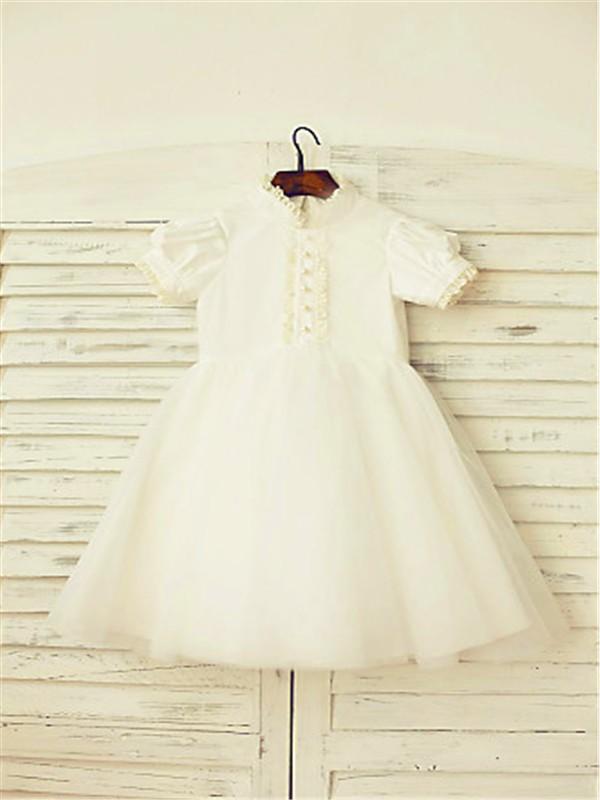 A-line/Princess High Neck Short Sleeves Lace Tea-Length Tulle Flower Girl Dresses