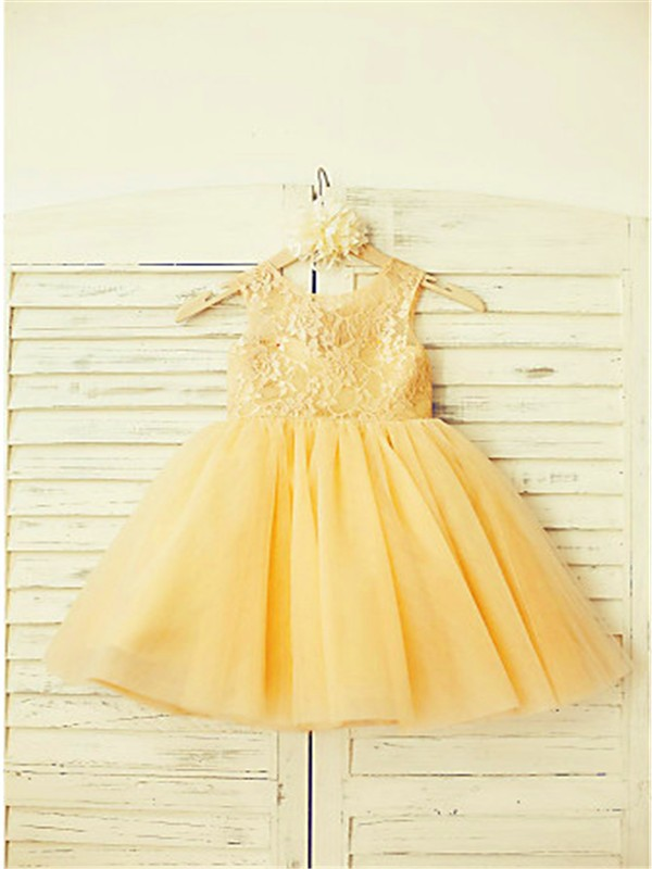 A-line/Princess Scoop Sleeveless Lace Floor-Length Tulle Flower Girl Dresses
