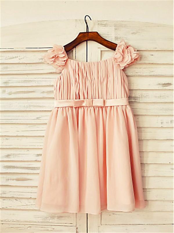A-line/Princess Straps Sleeveless Layers Floor-Length Chiffon Flower Girl Dresses