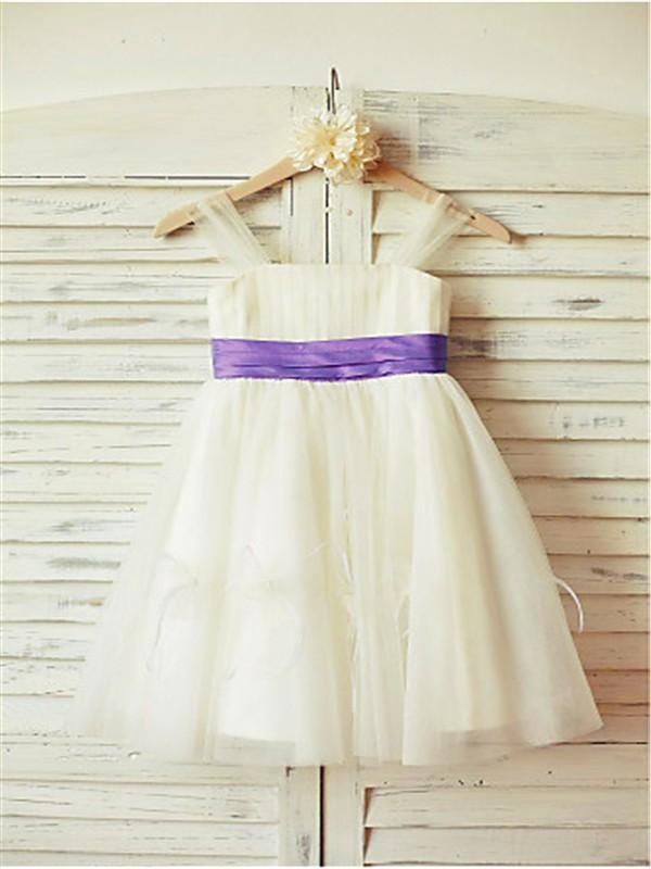 A-line/Princess Straps Sleeveless Ruffles Floor-Length Tulle Flower Girl Dresses