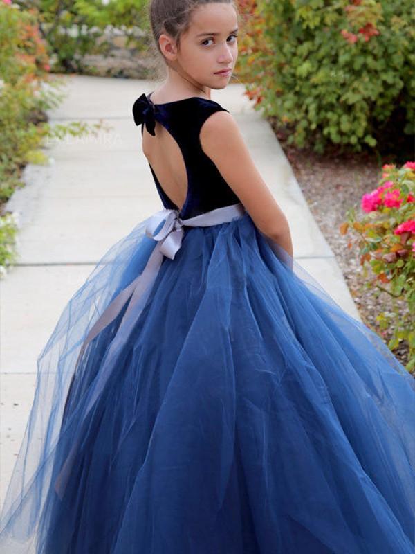 A-Line/Princess Sleeveless Scoop Ankle-Length Sash/Ribbon/Belt Tulle Flower Girl Dresses