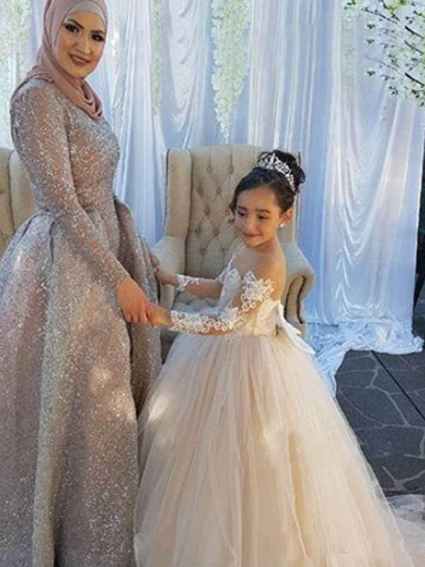 Sweet Sensation Ball Gown Off-the-Shoulder Sweep/Brush Train Applique Tulle Flower Girl Dresses