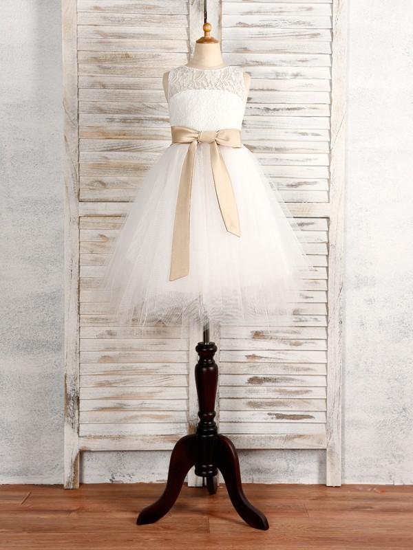 A-Line/Princess Tulle Sash/Ribbon/Belt Scoop Sleeveless Tea-Length Flower Girl Dresses