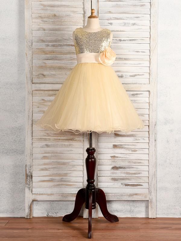 A-Line/Princess Tulle Hand-Made Flower Scoop Sleeveless Tea-Length Flower Girl Dresses
