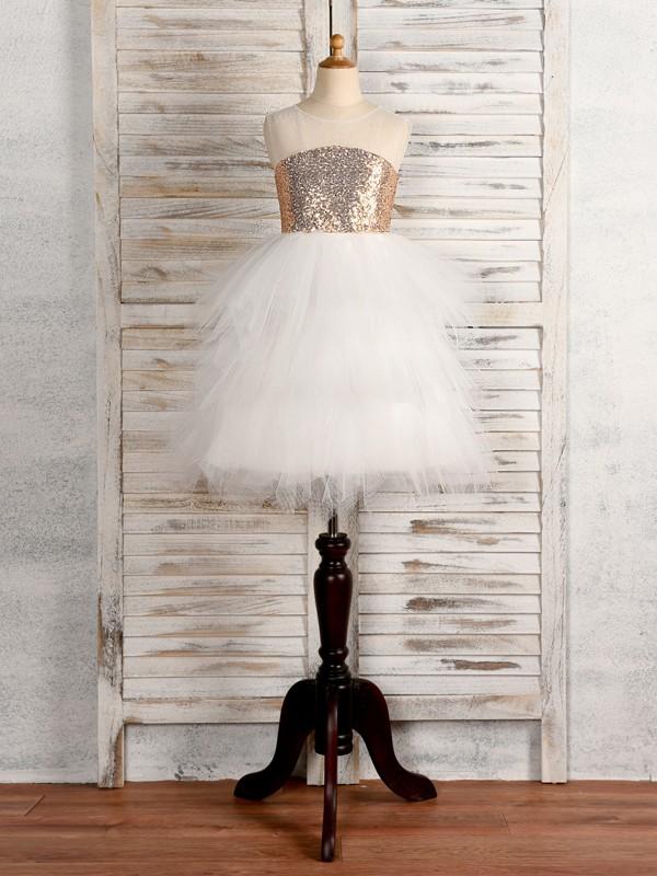 A-Line/Princess Tulle Paillette Scoop Sleeveless Tea-Length Flower Girl Dresses
