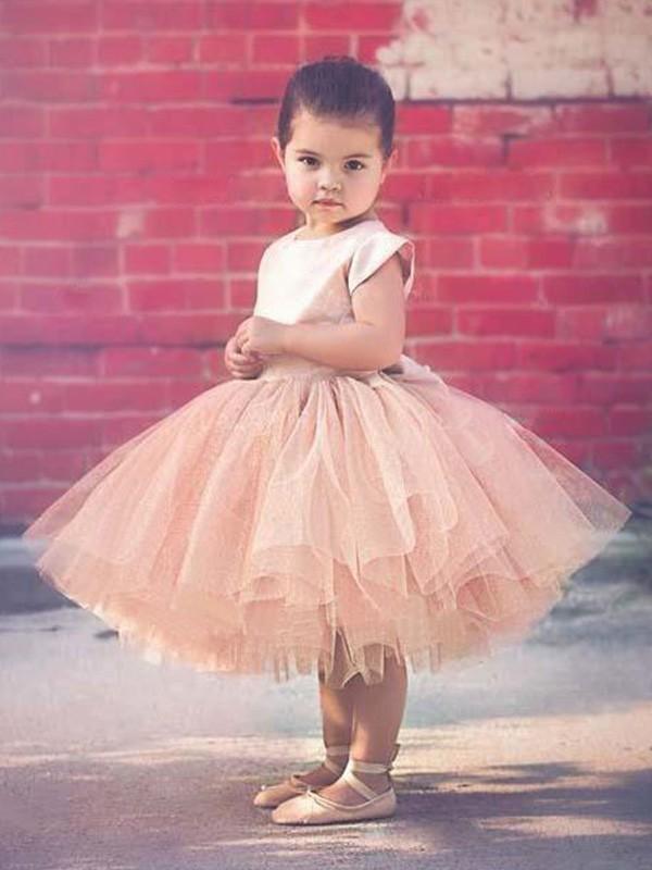 Visual Moment Ball Gown Scoop Knee-Length Ruffles Tulle Flower Girl Dresses