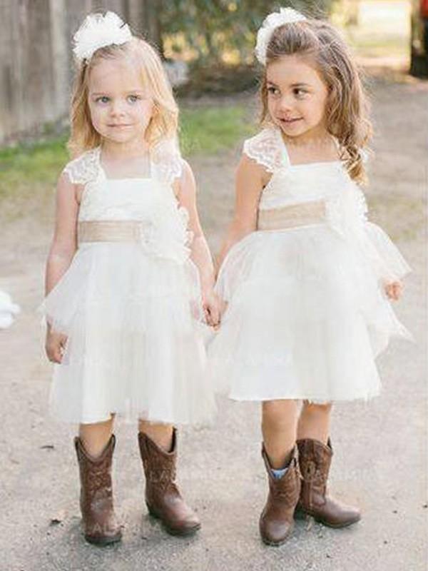 Just My Style Princess Style Square Knee-Length Sash/Ribbon/Belt Tulle Flower Girl Dresses