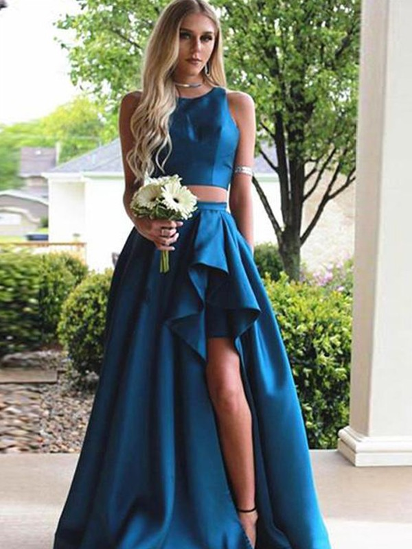 Too Much Fun Princess Style Scoop Sweep/Brush Train Ruffles Satin Two Piece Dresses