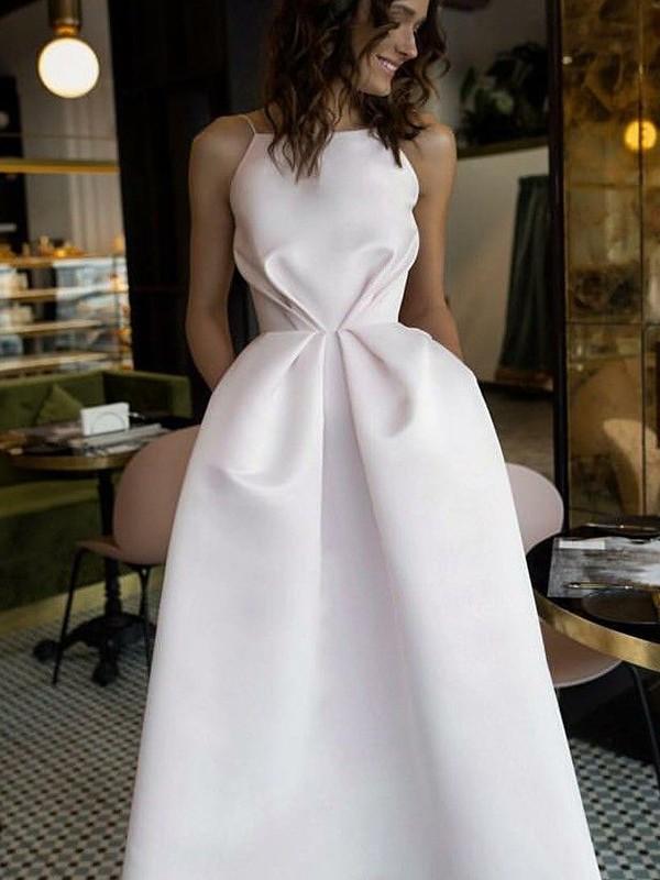 Memorable Magic Princess Style Halter Tea-Length Ruffles Satin Dresses