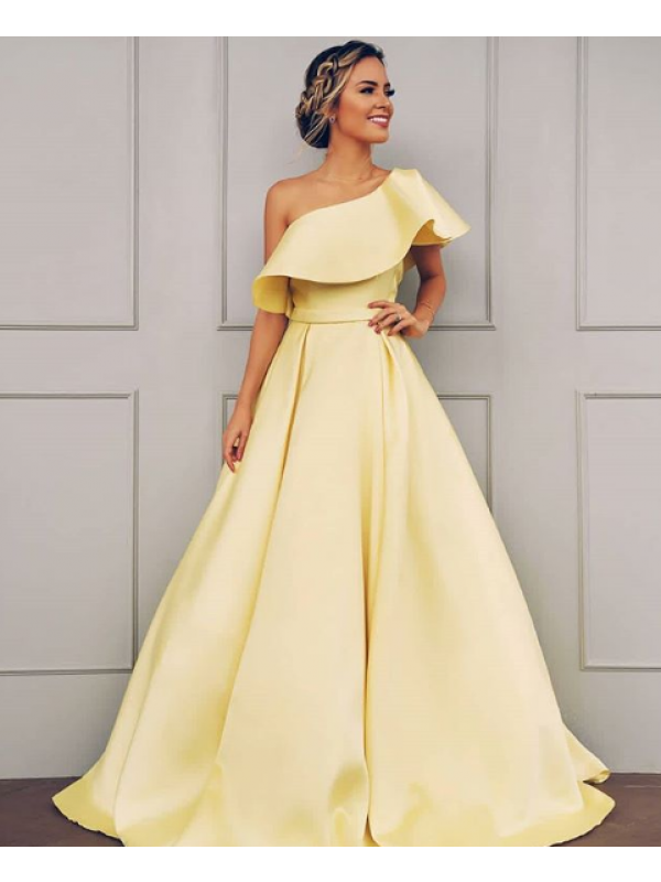 Stylish Refresh Princess Style One-Shoulder Floor-Length Ruffles Satin Dresses