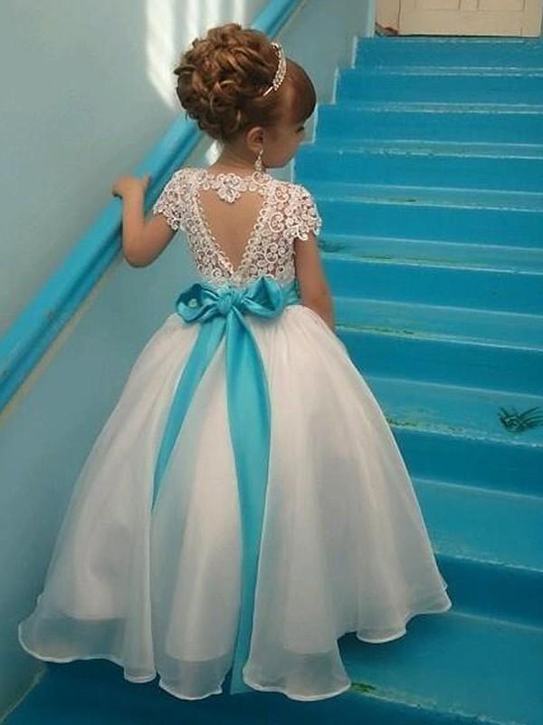 Ball Gown Short Sleeves Scoop Floor-Length Beading Organza Flower Girl Dresses