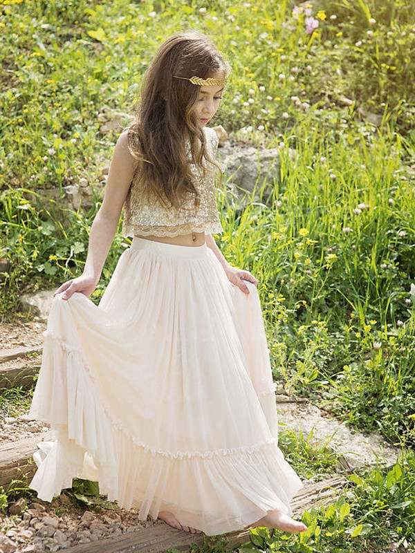 Time to Shine Princess Style Scoop Floor-Length Sequin Chiffon Flower Girl Dresses
