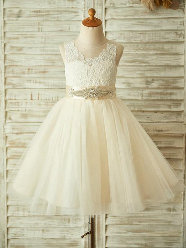 Cute A-Line Tea-Length Scoop Lace Tulle Flower Girl Dresses