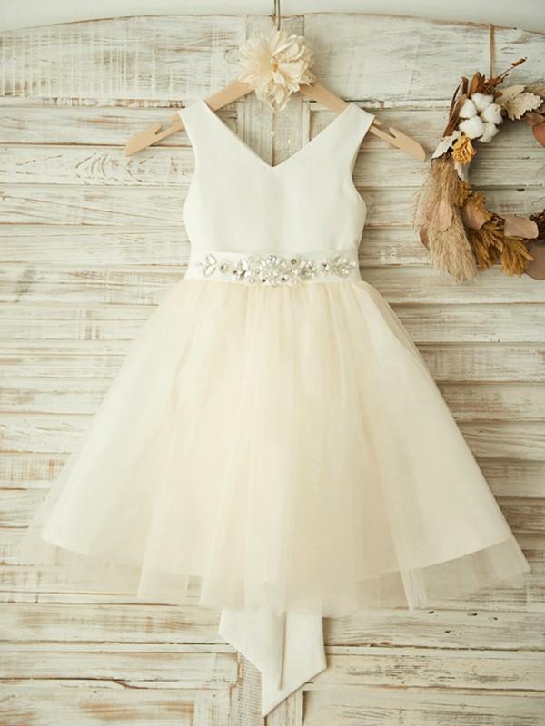 Sweet A-Line Knee-Length V-neck Bowknot Tulle Flower Girl Dresses