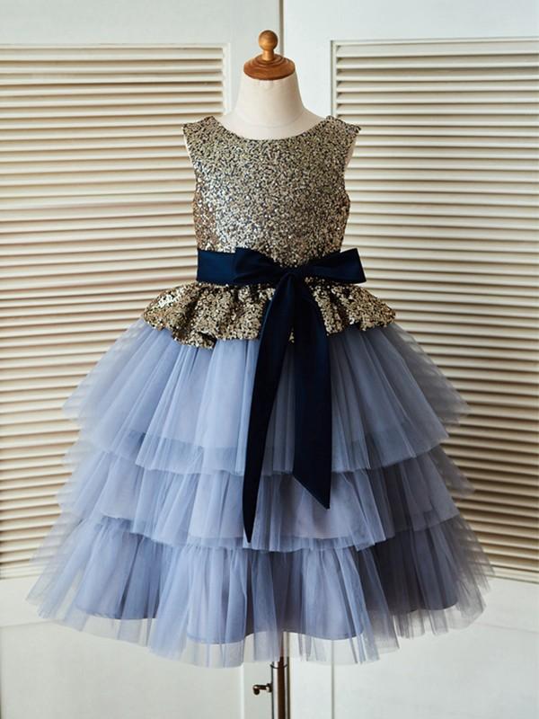 Sweet A-Line Tea-Length Scoop Sequin Tulle Flower Girl Dresses