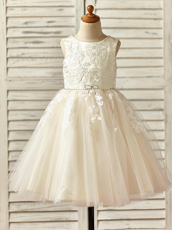 Sweet A-Line Knee-Length Scoop Lace Tulle Flower Girl Dresses
