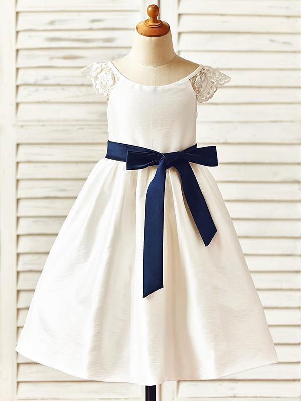 Sweet A-Line Knee-Length Scoop Sash/Ribbon/Belt Taffeta Flower Girl Dresses