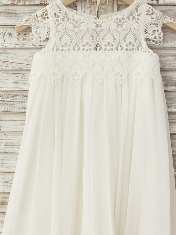 Sweet A-Line Knee-Length Scoop Lace Short Sleeves Chiffon Flower Girl Dresses