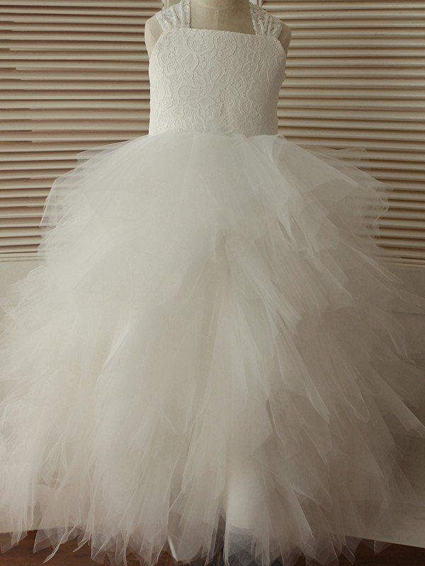 Sweet A-Line Ankle-Length Straps Lace Tulle Flower Girl Dresses