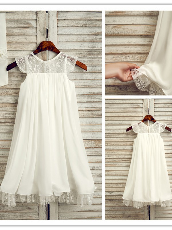 A-Line/Princess Chiffon Lace Scoop Sleeveless Tea-Length Flower Girl Dresses
