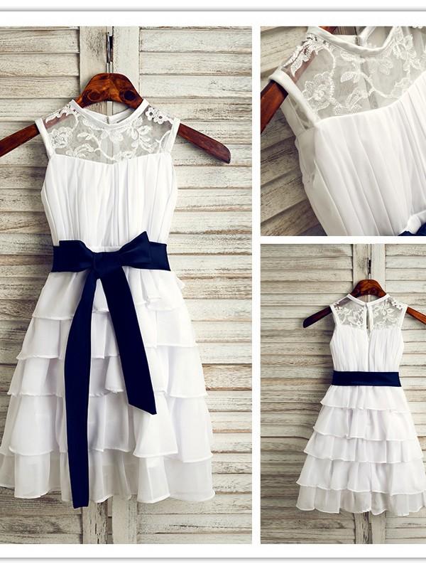 A-Line/Princess Chiffon Sash/Ribbon/Belt Scoop Sleeveless Tea-Length Flower Girl Dresses