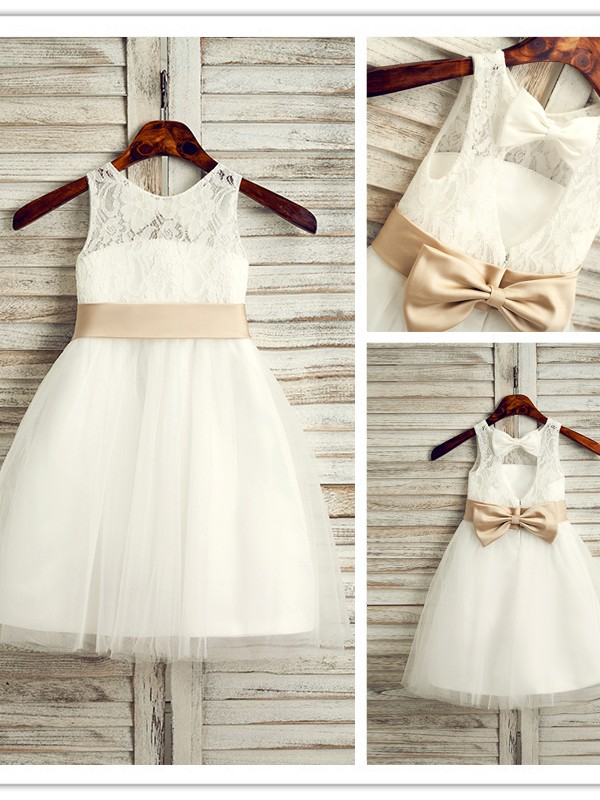 A-Line/Princess Tulle Bowknot Scoop Sleeveless Tea-Length Flower Girl Dresses