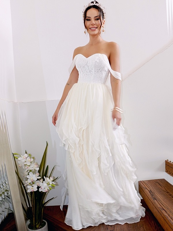 Styled to Smile Princess Style Chiffon With Ruched Off-the-Shoulder Floor-Length Wedding Dresses