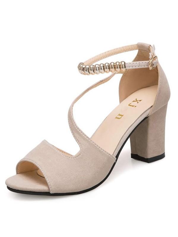 Women's Suede Chunky Heel Peep Toe Sandals
