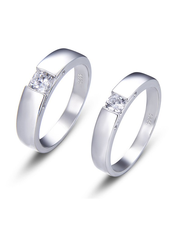 Classic S925 Silver With Zircon Hot Sale Couple Rings