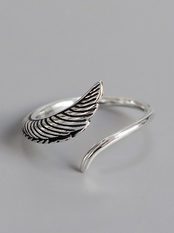 Fancy 925 Sterling Silver With Leaf Adjustable Rings