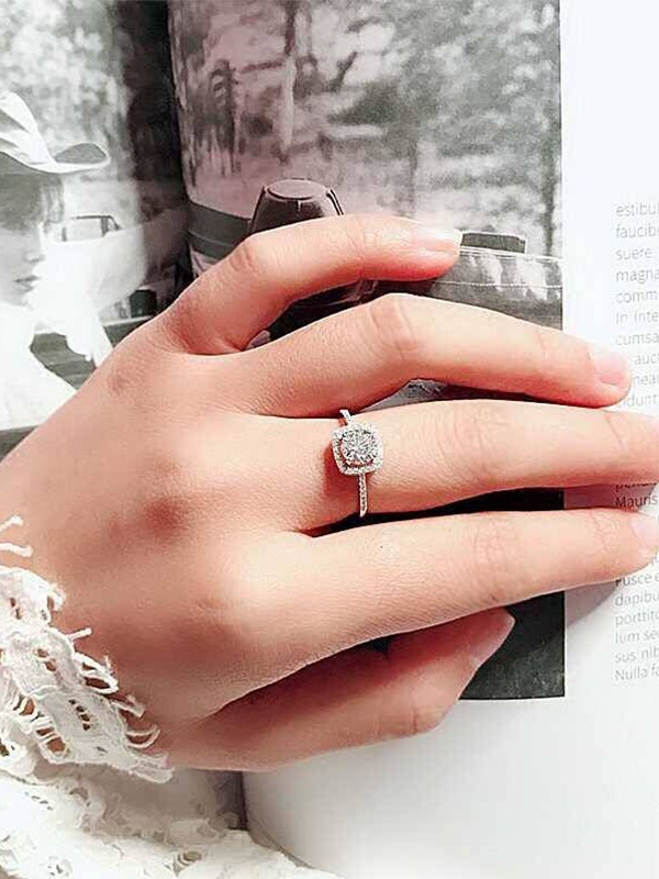 Luxurious S925 Silver With Rhinestone Adjustable Wedding Rings
